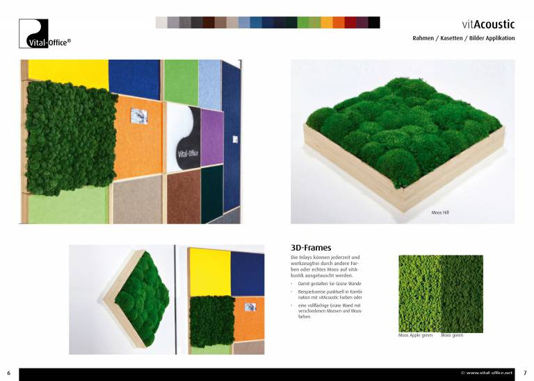 vitAcoustic 3d-frames - highly sound absorbable changeable acoustics Pictures Frames, Partition Walls and Ceiling Sails and Baffels made of bamboo in 19 colors acoustic PET, as well as Moss pictures with real moss