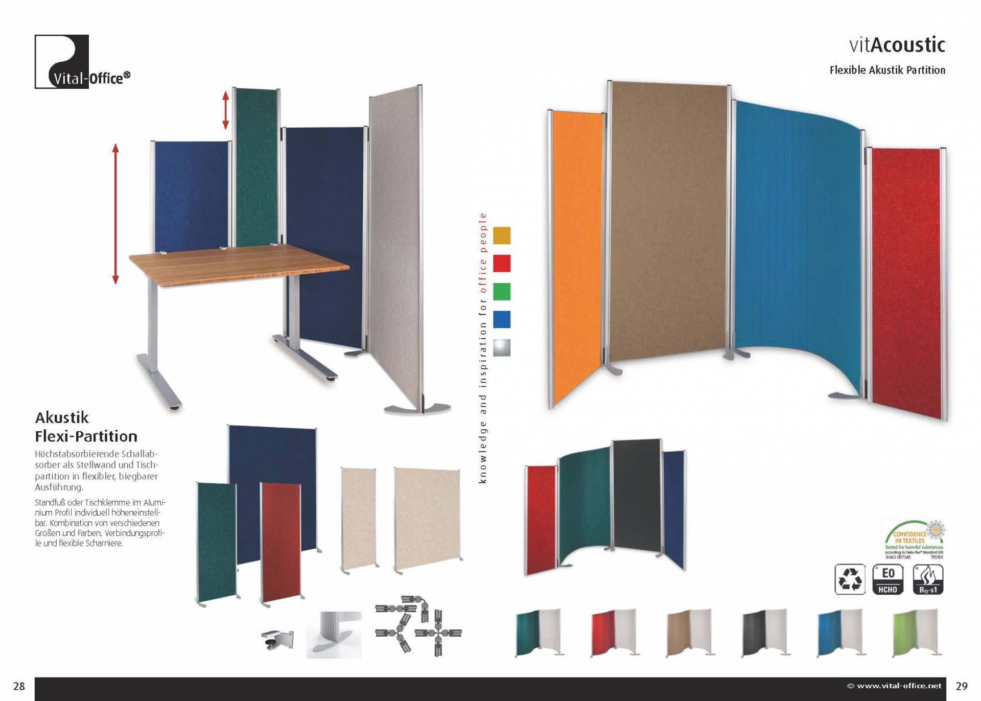 vitAcoustic acoustic partitions, sound-insulating screens and table top partitions - flexible and round