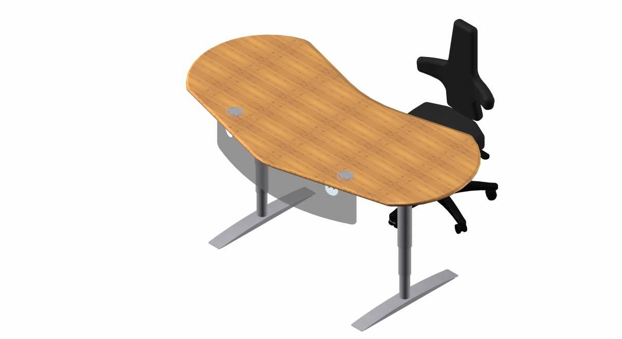 Steh-Sitz Schreibtisch: Joker Diamond in Bambus Massivholz