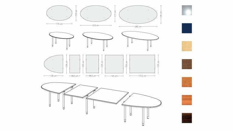 Variconferenz - Variable Conference tables as elliptical or boat table with round legs