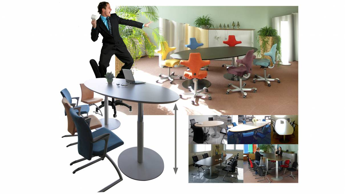 Variconferenz   Variable Conference Tables As Elliptical Or Boat Table