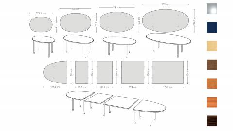 Variconferenz - Variable Conference tables oval with round legs