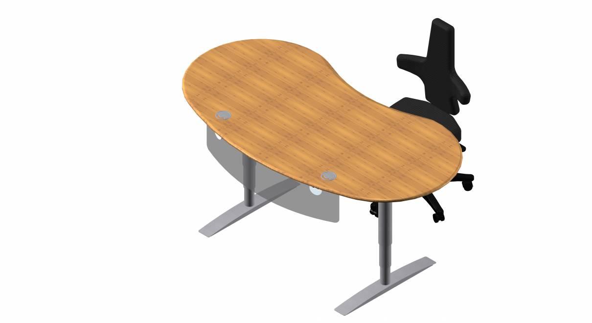 Steh-Sitz Schreibtisch: Joker Rund in Bambus Massivholz