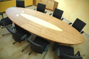 circon s-class - 4x1m - meeting table in bamboo hardwood with media ports and according to Feng Shui rules