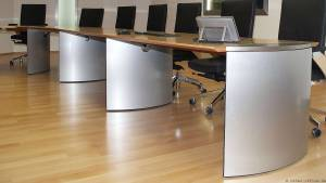 Typical for circon executive conference tables are the molded elliptical or diamond shaped bases