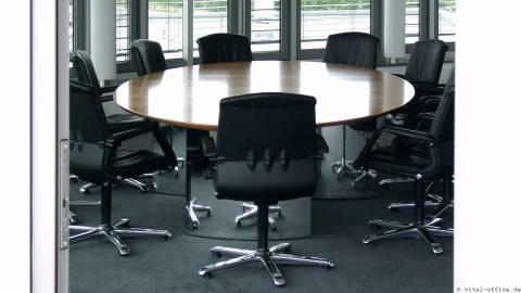 circon s-class - Noble representative elliptical conference table Swiss pear wood veneer