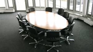 circon s-class - Noble representative elliptical conference table Swiss pear wood veneer