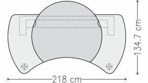 Cheftisch Command mit Holzblende in Linoleum und Echtholz 2180x1097mm