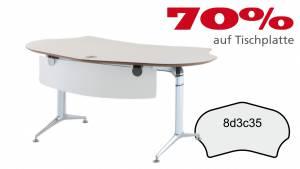 VERKAUFT - Schreibtisch FormFit 8d3c35 in kristallweiß Dekor 1686x897mm