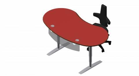 Steh-Sitz Schreibtisch: Joker Rund in Linoleum