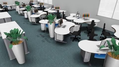 Großraumbüro für 48 Mitarbeiter in ansprechendem Design