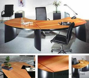 circon executive classic - Executive Desk - Noble black with European Cherry tree, Swiss pear tree and Scamore tree