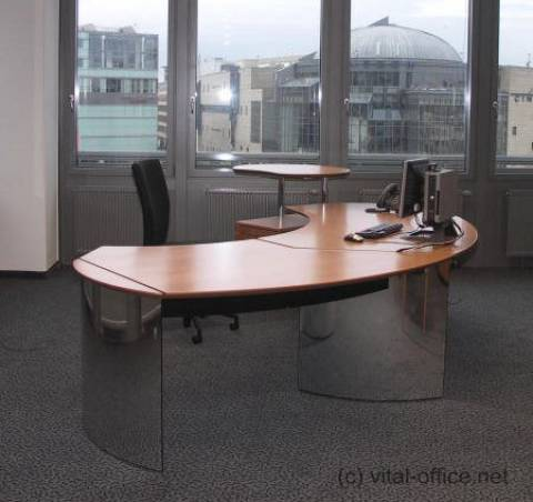 circon executive classic - Executive Desk - Polished Chrome with Swiss Pear tree
