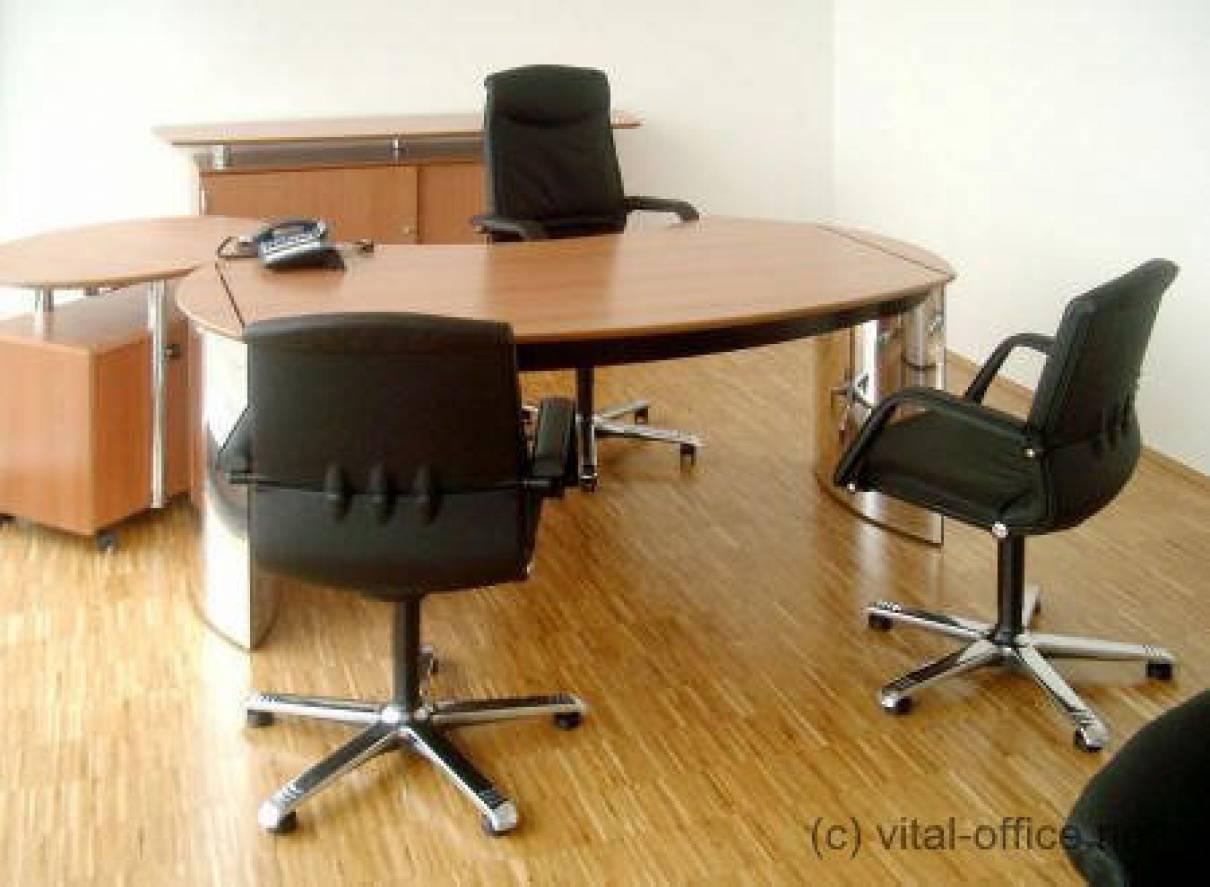 circon executive classic - Executive Desk - Polished Chrome with Swiss Pear tree