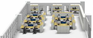 Harmonizing square and round shapes in metalor technologies office planning