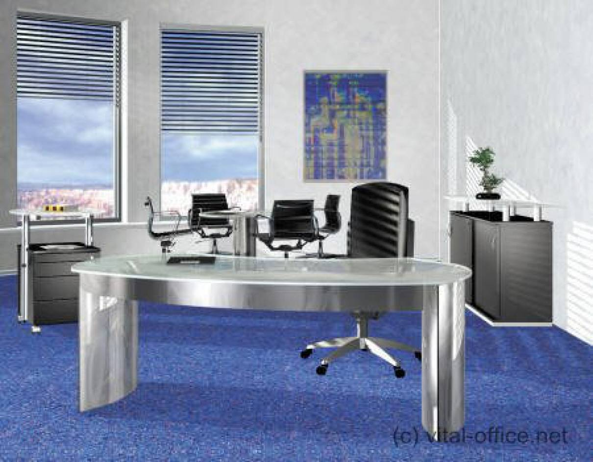 circon executive classic - Executive Desk - Glass and stainless steel
