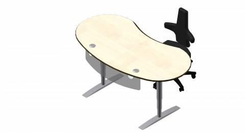Steh-Sitz Schreibtisch: Joker Rund in Dekor